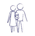 blurred blue silhouette of pictogram parents with vector image