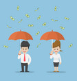 businessman holding umbrella under rain money vector image vector image