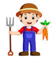 cartoon young farmer holding rake vector image vector image