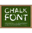 Chalk font on blackboard Write with chalk on vector image