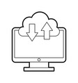 computer desktop with cloud computing vector image vector image