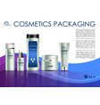 cosmetics template with creme box in violet vector image