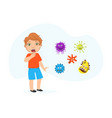 coughing boy spreading virus and bacteria child vector image