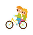cute girl and boy riding on bicycle brother and vector image