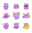 cute purple bear emoticon doodle 2