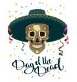 Day of Dead Skull in Mexican Hat Dia de Muertos vector image