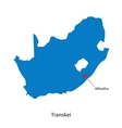 Detailed map of Transkei and capital city Mthatha vector image vector image