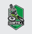 downhill mountain bike logo vector image