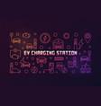 ev charging station outline colorful line vector image vector image