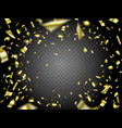 falling golden confetti on transparent background vector image