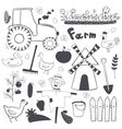 farm black and white set in doodle style vector image vector image