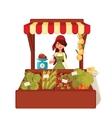 Farmer woman sells vegetables in bulk vector image