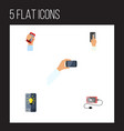flat icon smartphone set of screen accumulator vector image