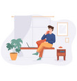 freelance man work from home comfortable space at vector image