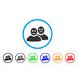 glad and sad people rounded icon vector image