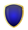 Golden shield with a blue background Isolate vector image vector image