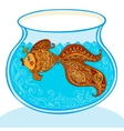 Goldfish and patterned tail in aquarium vector image