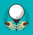 golf gloves ball on tee label vector image