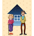 Grandparents in front of the small house vector image vector image