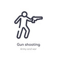 gun shooting outline icon isolated line from army vector image vector image