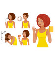 hair coloring process steps black skin woman vector image