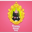 Happy Birthday card with a cat in frame vector image vector image