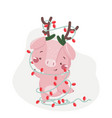 happy new year greeting card with cute pig vector image