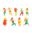happy plus size women in colorful fashion clothes vector image