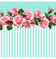 horizontal striped pattern with pink rose peony vector image vector image