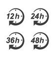 hour clock arrow icon 12h 24h 36h and 48h vector image