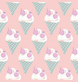 ice cream cone seamless pattern pastel vector image