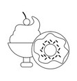 ice cream cup and donut black and white vector image vector image