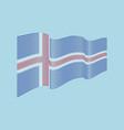 iceland flag on blue background wave strip vector image
