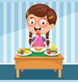 kid having breakfast vector image