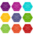 kitchen scales icons set 9 vector image vector image