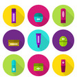 lip balm tubes and jars flat icon set vector image