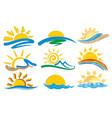 logos sun and sea vector image