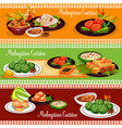 malaysian restaurant banner with exotic dishes vector image vector image
