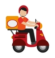 man delivering boxes on scooter icon vector image vector image