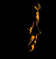 mature woman face silhouette in contrast backlight vector image