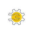 Mechanics engineering logo concept wrench and gear vector image