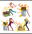 mining farm set businessman miner virtual vector image