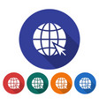 round icon of globe with pointer arrow go to web vector image