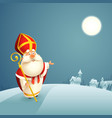saint nicholas theme - winter night landscape vector image vector image
