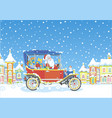 santa claus driving his car with gifts vector image vector image