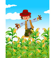 Scarecrow standing in corn field vector image vector image
