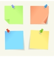 set colour sticky notes with pin vector image