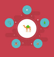 set of ramadan icons flat style symbols with camel vector image vector image