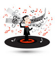 singer in suit spinning on vinyl record with vector image vector image