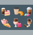 sweet hazelnut muffins delicious cake coffee cup vector image vector image